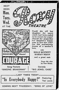 Eröffnungsprogramm des Roxy Theatre © rivest266, http://cinematreasures.org/theaters/14101/photos/95357