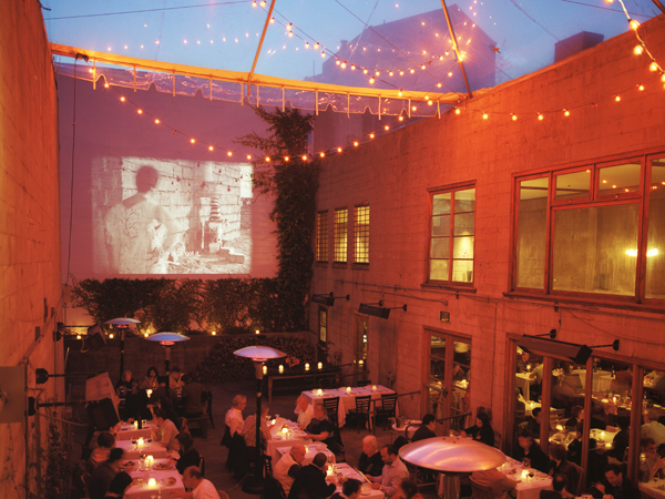 The Foreign Cinema in the Mission District, shows films project